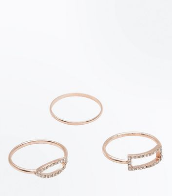 3 Pack Rose Gold Stone Embellished Rings New Look