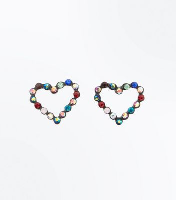 Multi Colour Heart Stud Earrings New Look