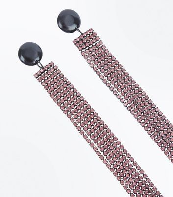 Purple Embellished Tassel Shoulder Duster Earrings New Look