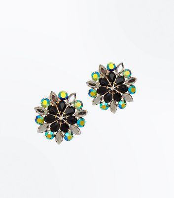 Multi Colour Oversized Flower Earrings New Look