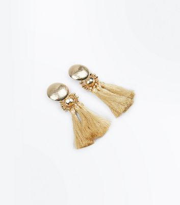 Gold Metallic Tassel Earrings New Look