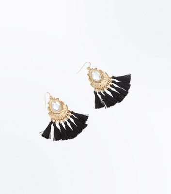 Black Tassel Fan Earrings New Look