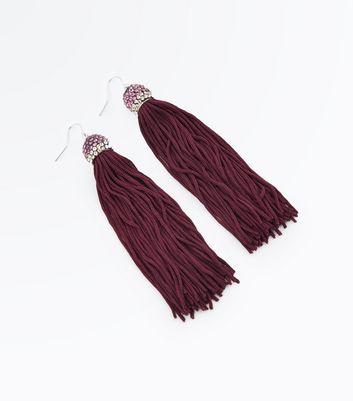 Burgundy Embellished Tassel Earrings New Look