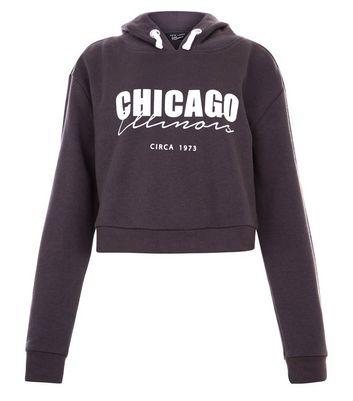 Teens Grey Chigago Print Hoodie New Look