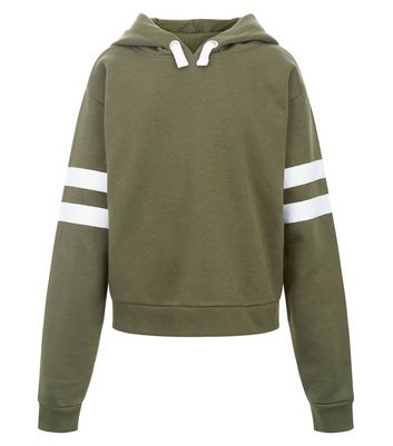 Teens Khaki Stripe Sleeve Hoodie New Look
