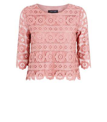 Plum Crochet Lace 3/4 Sleeve Top New Look