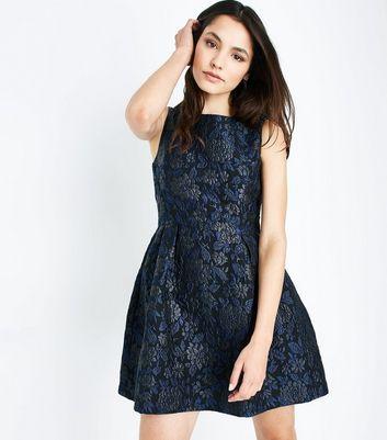 Blue Vanilla Blue Floral Jacquard Dress New Look