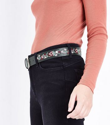 Black Floral Embroidered Belt New Look