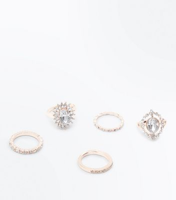 5 Pack Rose Gold Diamante Embellished Rings New Look