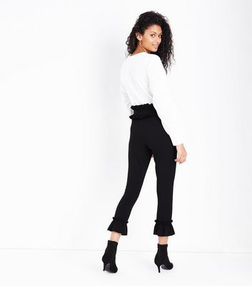 Black Frill Trim Leggings New Look