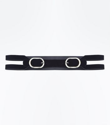 Black Double Buckle Velvet Waist Belt New Look