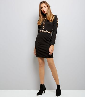 Parisian Black Lattice Front Dress New Look