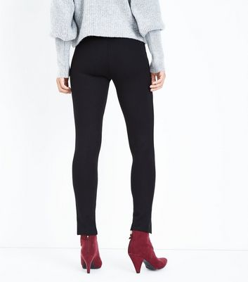 Black Split Hem Leggings New Look