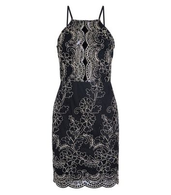 Parisian Black Metallic Embroidered High Neck Dress New Look