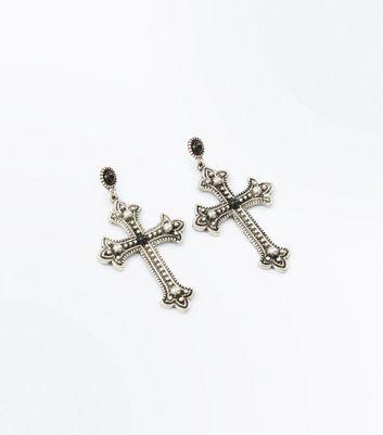 Silver Gem Embellished Cross Earrings New Look