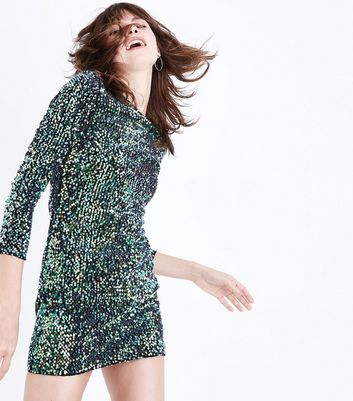 Parisian Green Iridescent Sequin Dress New Look
