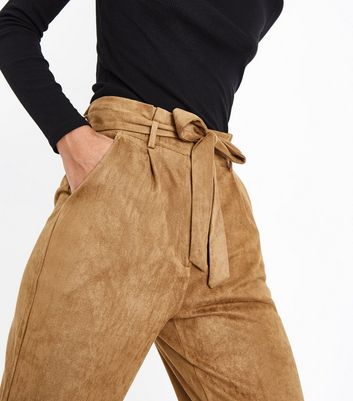 Parisian Camel Suedette Paperbag Waist Trousers New Look