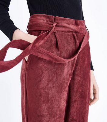 Parisian Burgundy Suedette Paperbag Waist Trousers New Look
