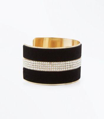 Black Velvet Diamante Cuff Bracelet New Look
