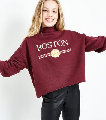 Teens Burgundy Boston Print Funnel Neck Sweater New Look