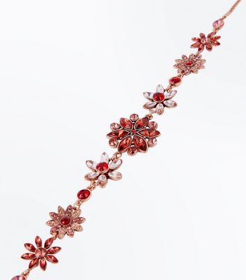 Red Stone Embellished Flower Choker New Look