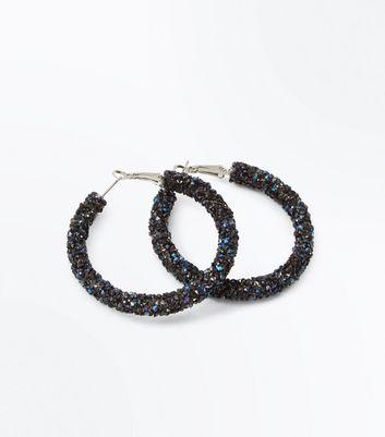 Navy Stone Embellished Hoop Earrings New Look