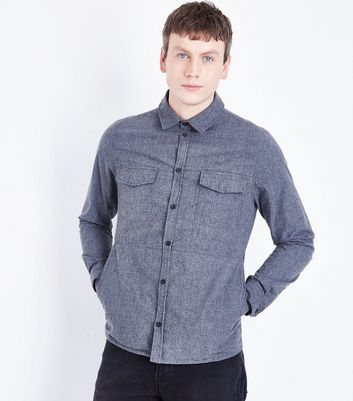 Grey Textured Double Pocket Shirt New Look