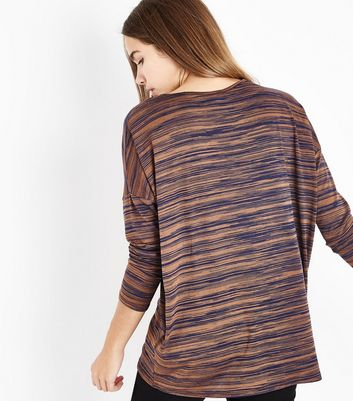 Brown Contrast Stripe Oversized Top New Look