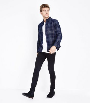Blue Check Cord Shirt New Look