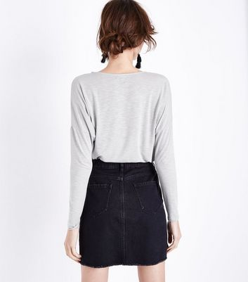 Pale Grey Oversized Long Sleeve T-Shirt New Look