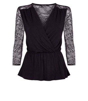 Black Lace Sleeve Wrap Front Top New Look