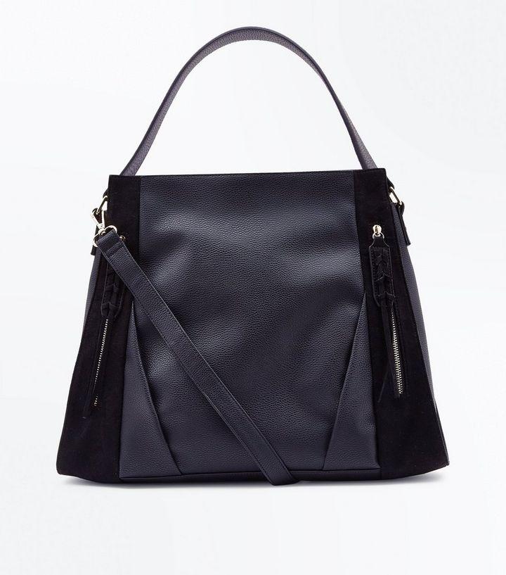179da7516 Black Zip Front Contrast Panel Shopper Bag | New Look