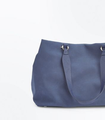 Navy Blue Slouchy Tote Bag New Look