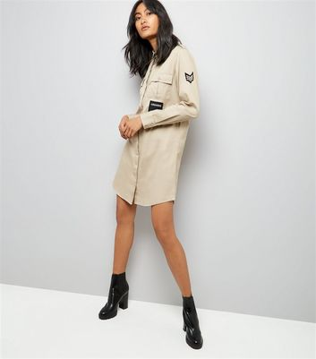 Stone Military Embroidered Patch Shirt Dress New Look