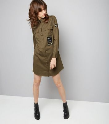 Green Military Embroidered Patch Shirt Dress New Look