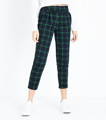 Innocence Green Check Turn Up Trousers New Look