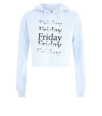Teens Pale Blue Friday Slogan Hoodie New Look