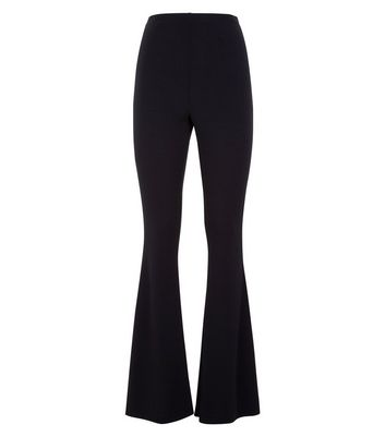 Black Flared Jersey Trousers New Look