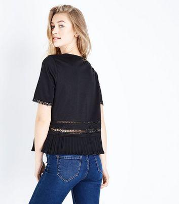 Black Lace Trim Pleated Hem T-Shirt New Look