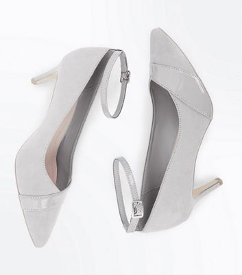 Wide Fit Grey Suedette Patent Panel Courts New Look