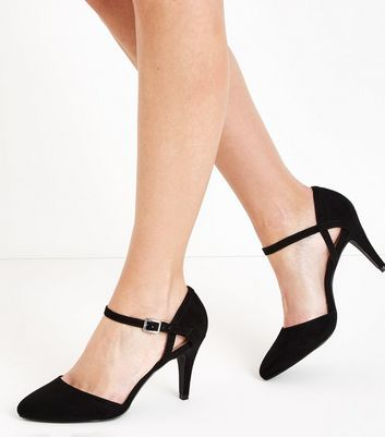 Wide Fit Black Suedette Ankle Strap Court Shoes New Look