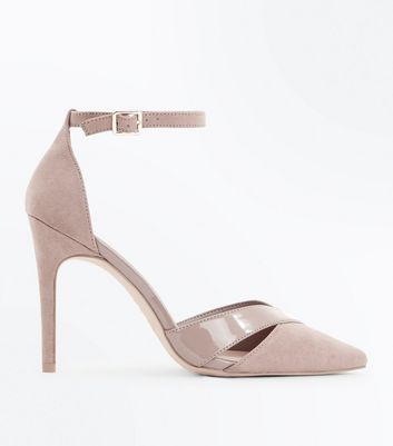 Wide Fit Mink Suedette Patent Panel Courts New Look