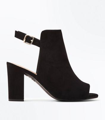 Comfort Suedette Slingback Block Heels