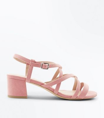 Wide Fit Pink Suedette Mid Heel Strappy Sandals New Look