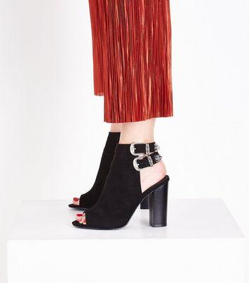 Wide Fit Black Suedette Western Buckle Peep Toe Heels New Look