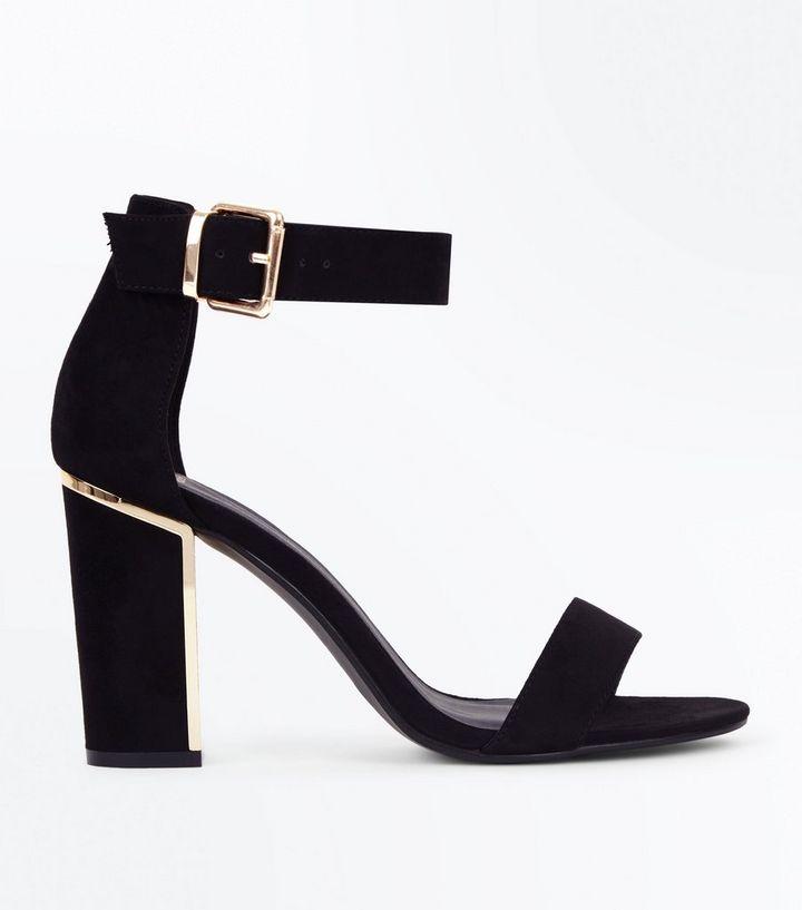 01f62d56cca1 Wide Fit Black Suedette Metal Heel Sandals