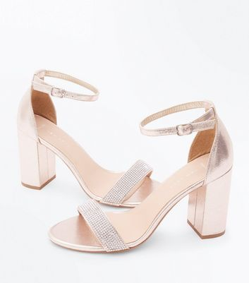 Gold Diamante Embellished Open Toe Heeled Sandals New Look
