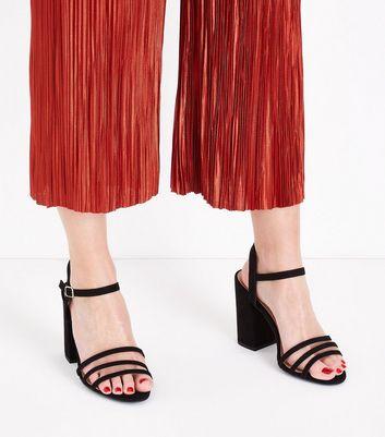 Wide Fit Black Suedette Triple Strap Sandals New Look