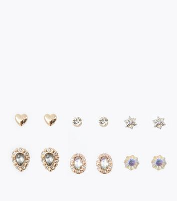 6 Pack Iridescent Gem Embellished Stud Earrings New Look