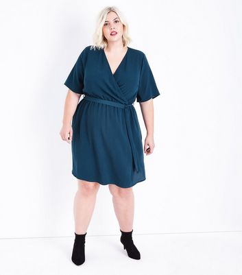 Curves Dark Green Wrap Front Dress New Look